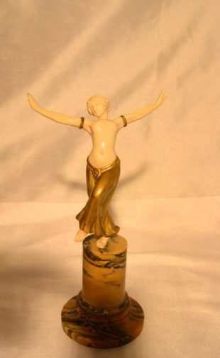 Bartelemy chryselephantine art deco figure of a dancing lady with ivory carved body and gilt dress