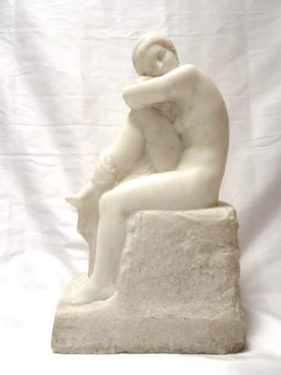 Fernand David - White marble Art Deco figure